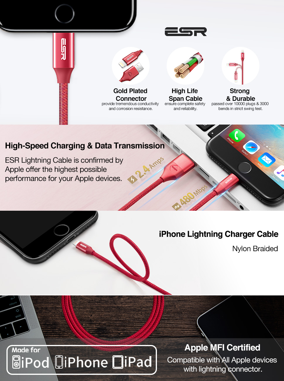 ESR MFi Lightning Cable - Gohub Shop