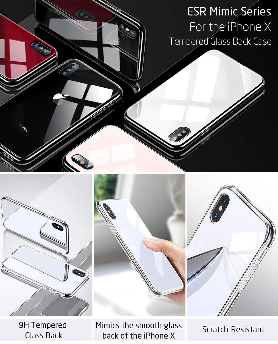 Carcasa ESR Mimic 9H Tempered Glass iPhone X, White Gohub