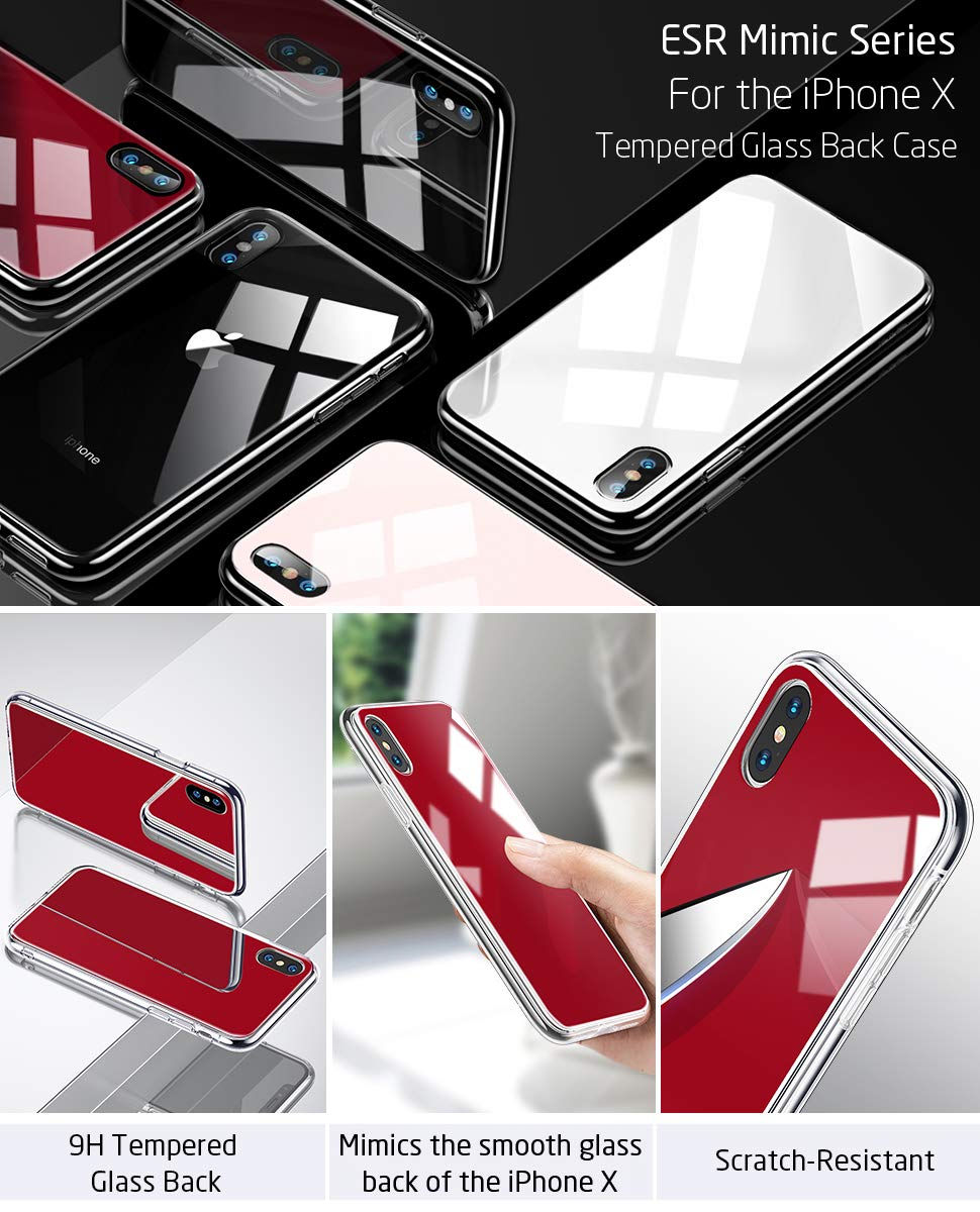 Carcasa ESR Mimic 9H Tempered Glass iPhone X, Red Gohub
