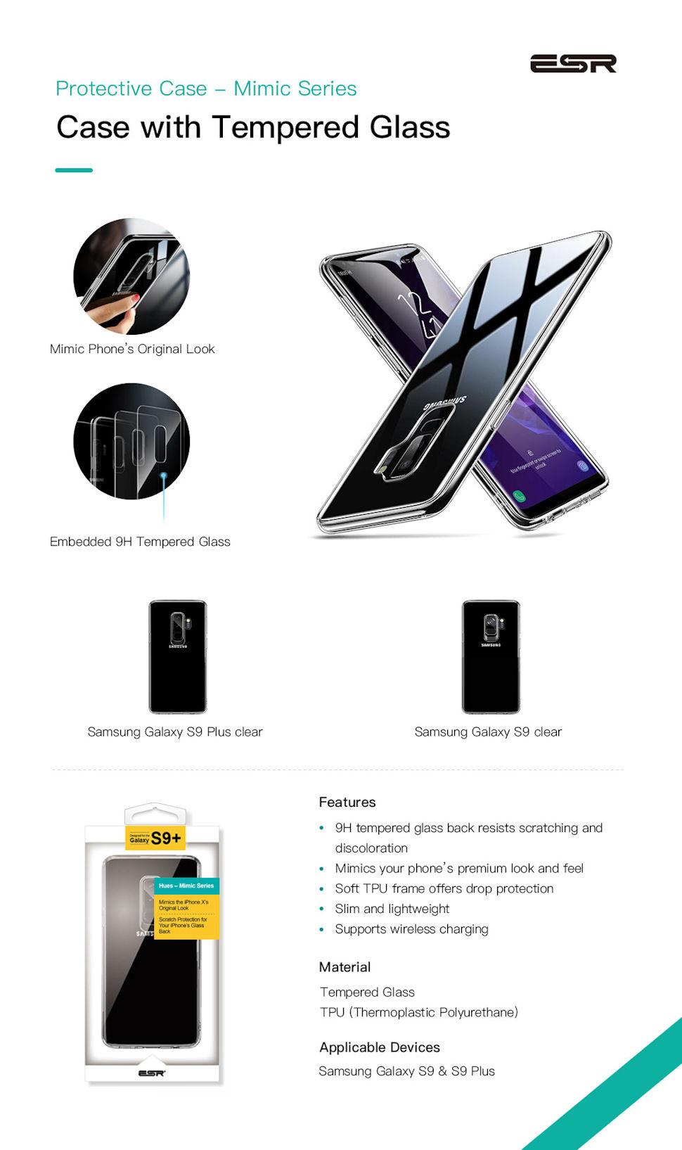 Carcasa ESR Mimic 9H Tempered Glass Samsung Galaxy S9, Clear Gohub