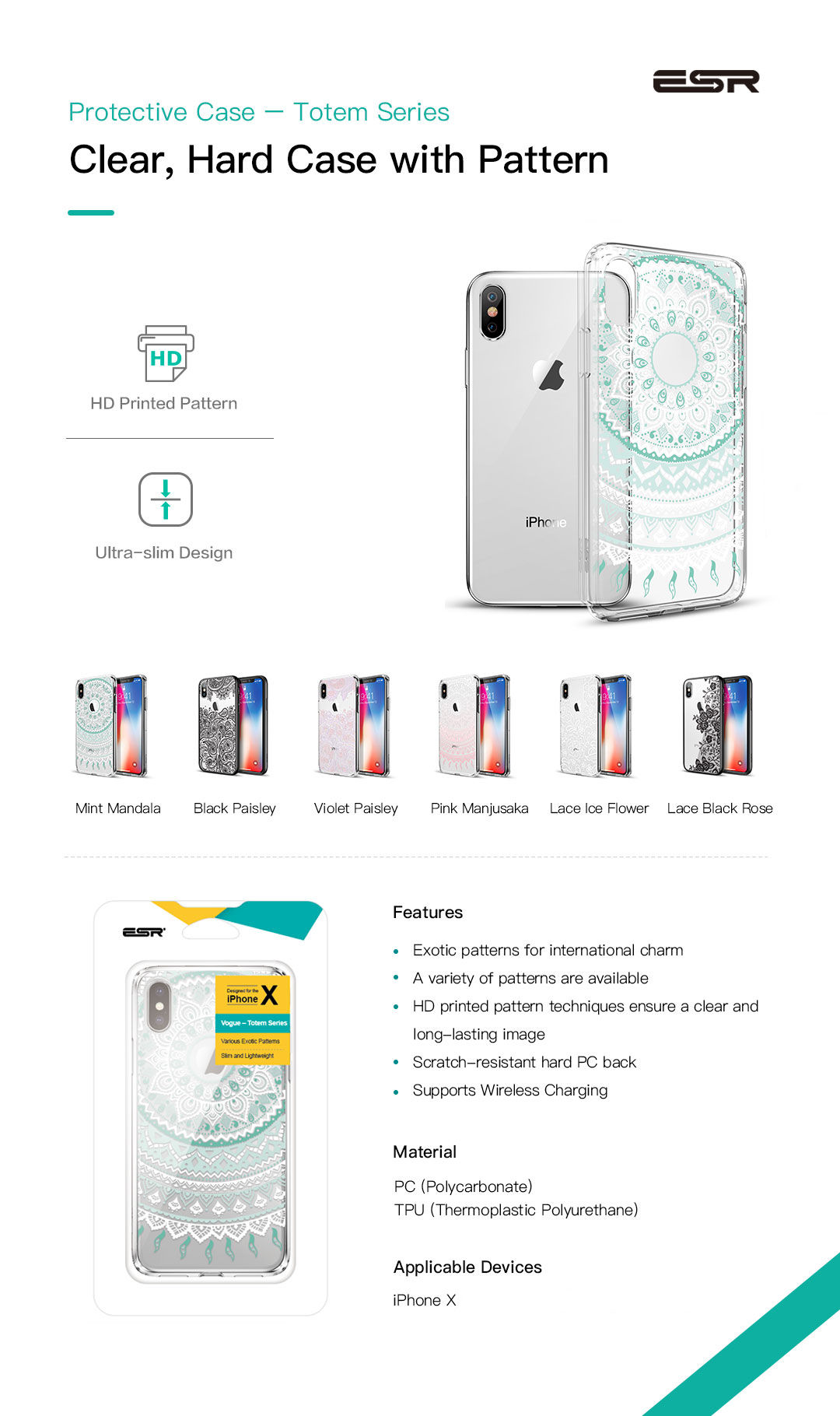 Carcasa ESR Totem iPhone X, Mint Mandala Gohub.ro