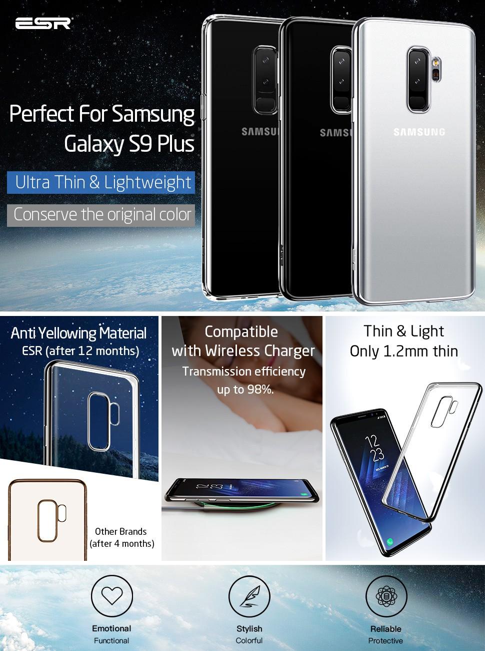Husa slim ESR Essential Twinkler Samsung Galaxy S9 Plus, Black Gohub