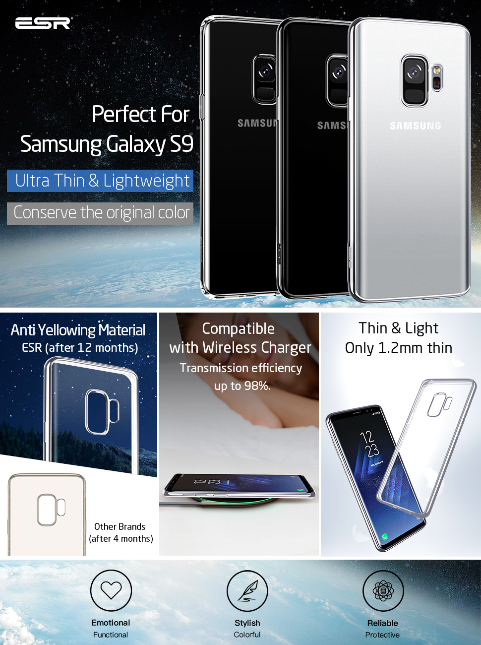 Husa slim ESR Essential Twinkler Samsung Galaxy S9, Silver Gohub