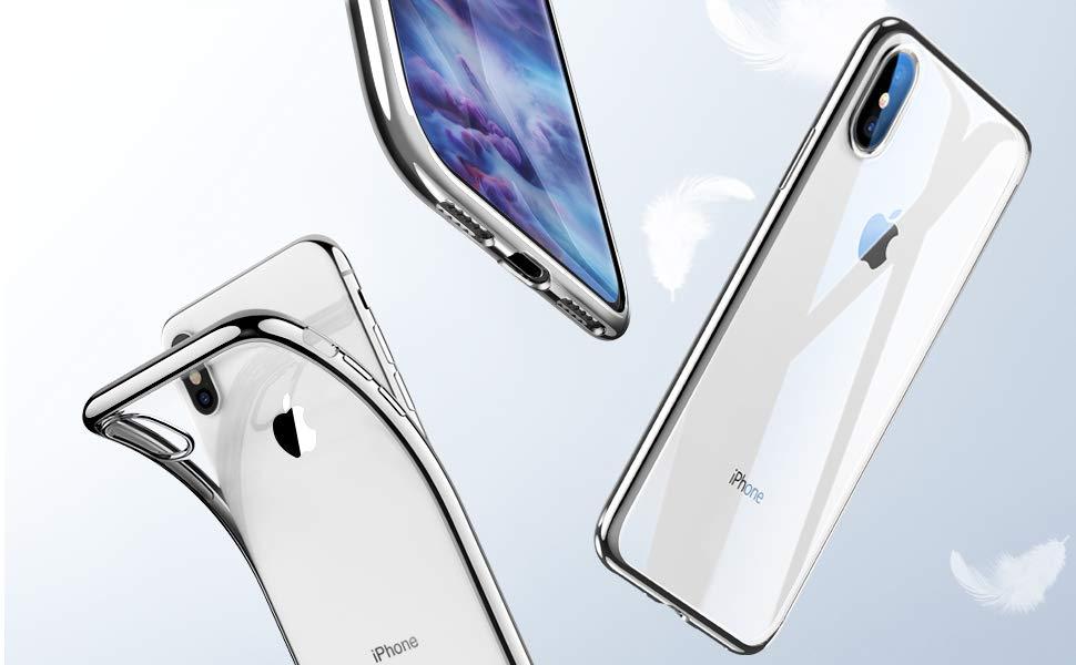 Husa slim ESR Eseential Twinkler iPhone X, Silver Gohub
