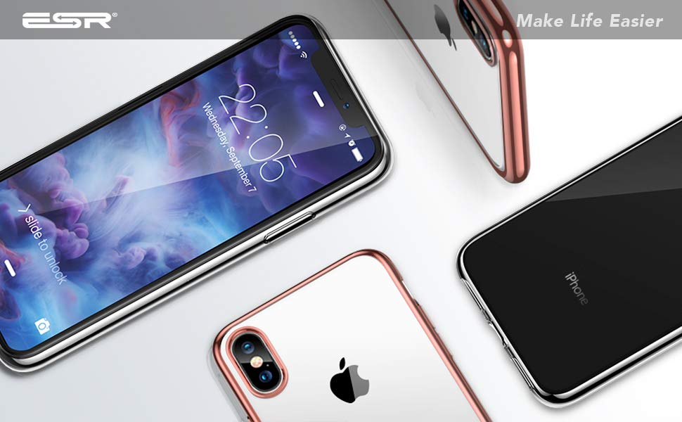 Husa slim ESR Eseential Twinkler iPhone X, Rose Gold Gohub