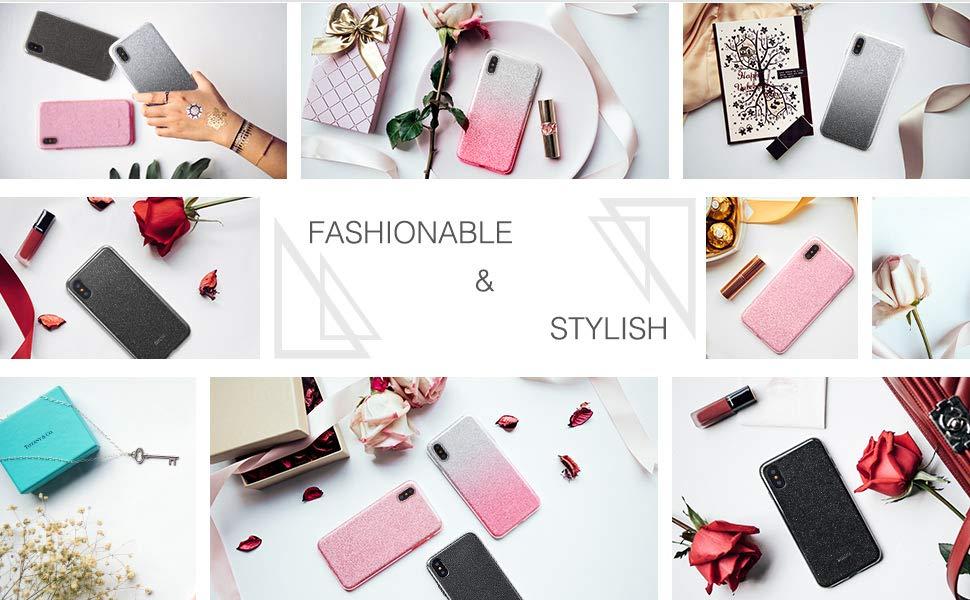 Carcasa ESR Makeup Glitter iPhone X, Ombre Pink Gohub