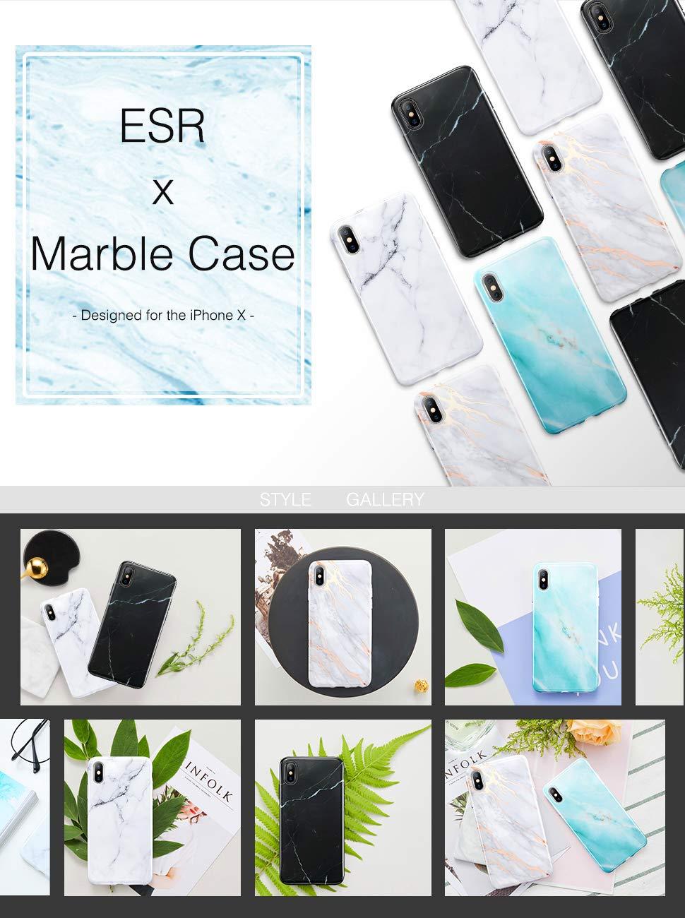 Carcasa ESR Marble iPhone X, Black Gold Sierra Gohub