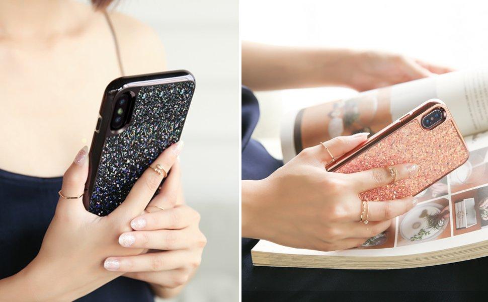 Carcasa ESR Glitter iPhone X, Metallic Peach Gohub