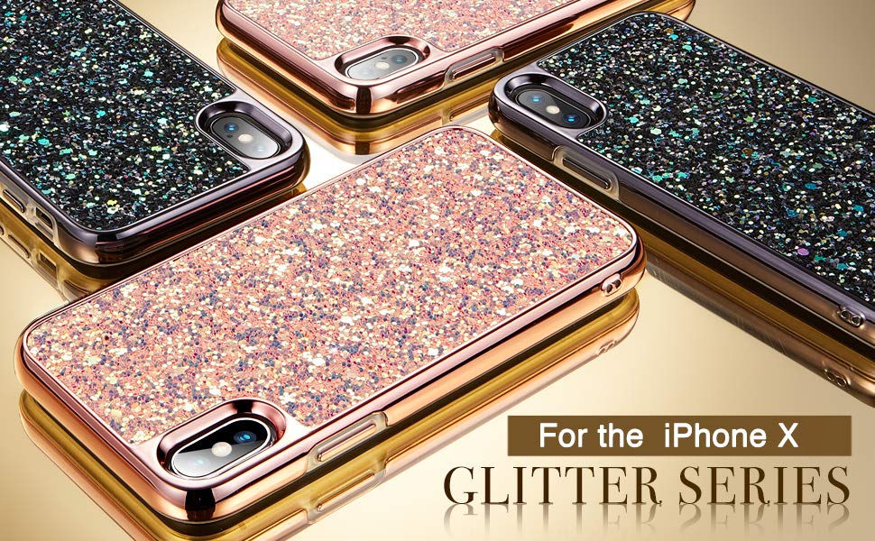 Carcasa ESR Glitter iPhone X, Black Gohub