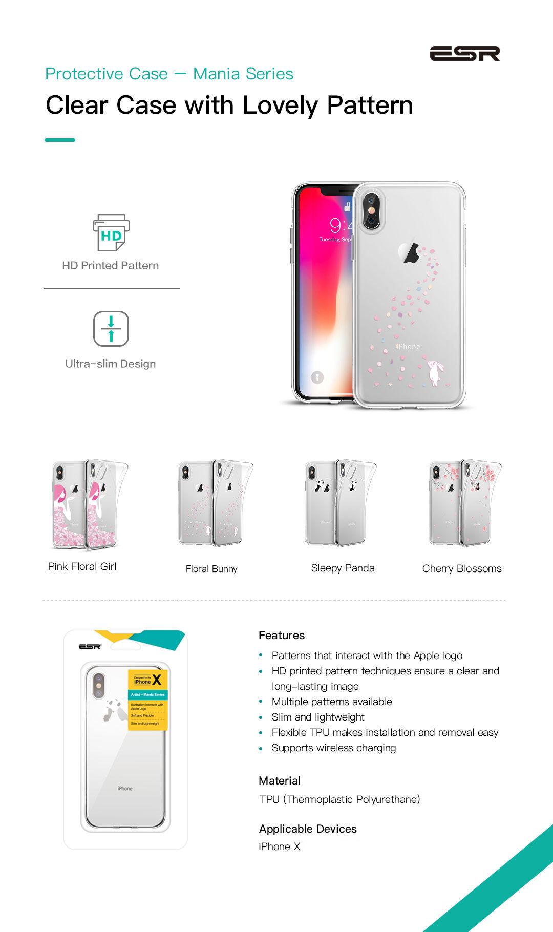 Carcasa ESR Mania iPhone X, Floral Bunny Gohub
