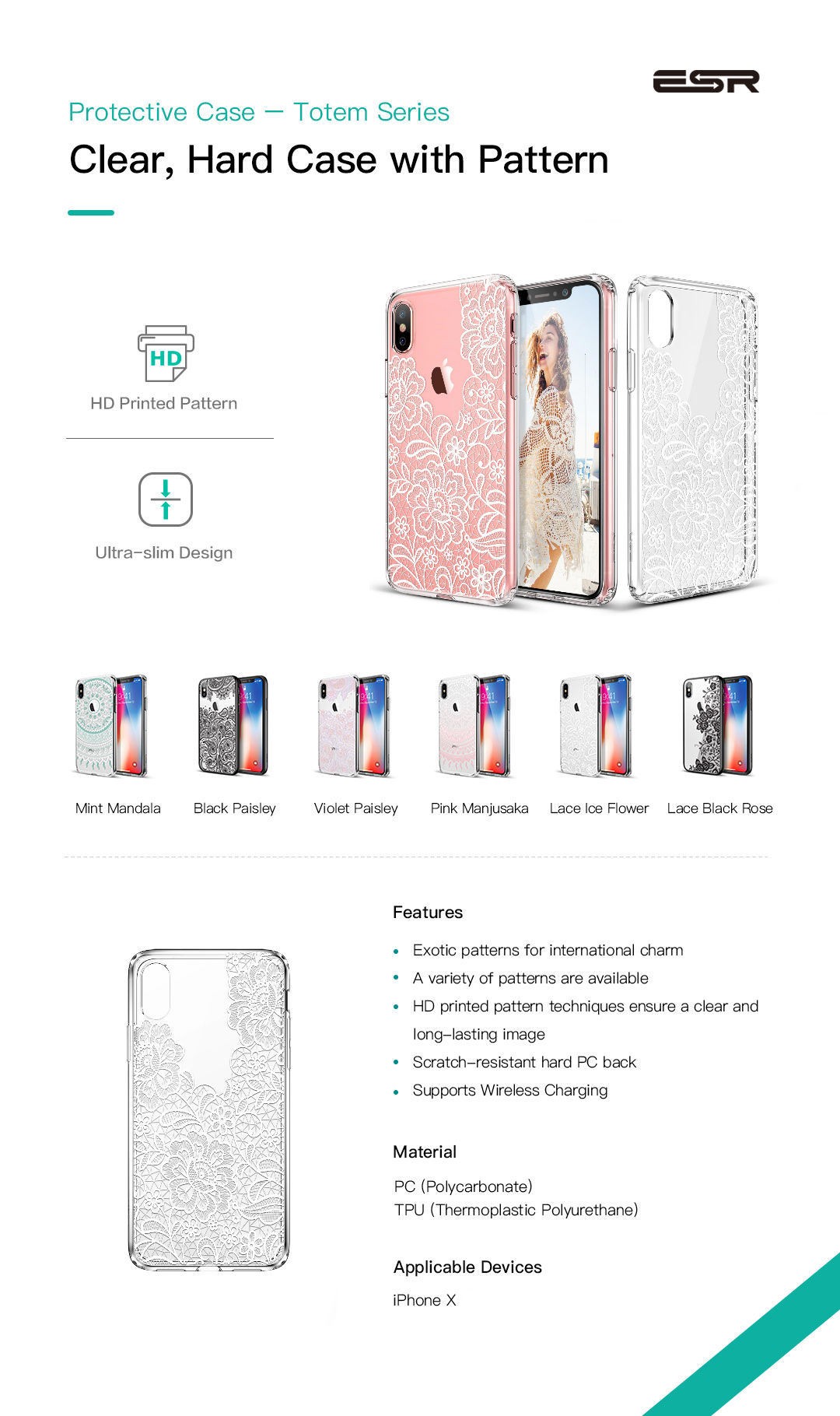 Carcasa ESR Totem iPhone X, Lace Ice Flower Gohub.ro