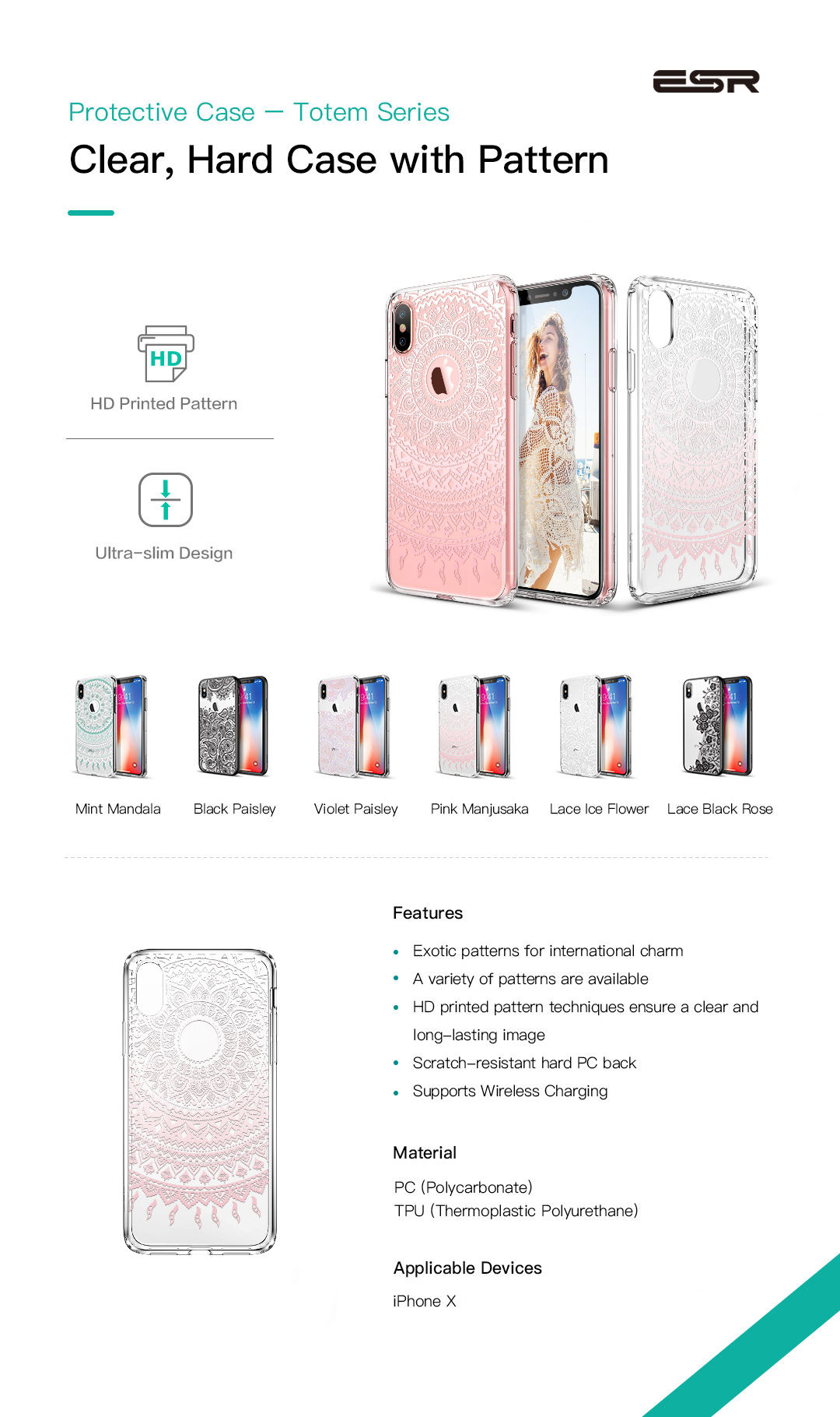 Carcasa ESR Totem iPhone X, Pink Manjusaka Gohub.ro