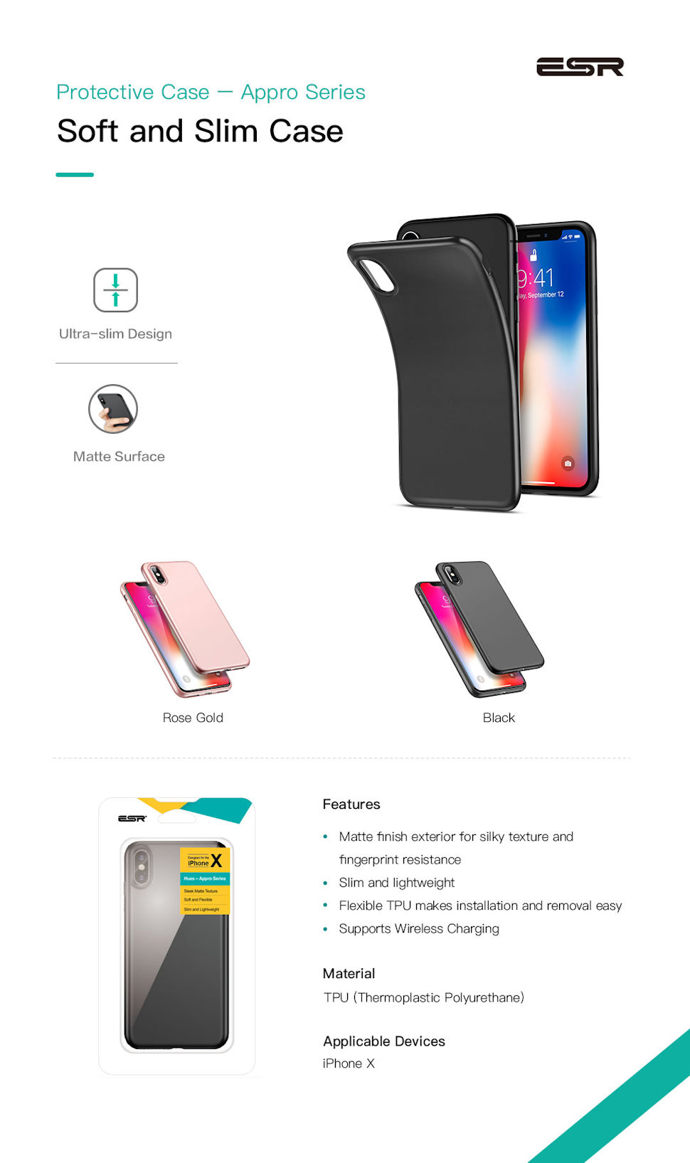 Husa slim ESR Appro iPhone X, Gohub