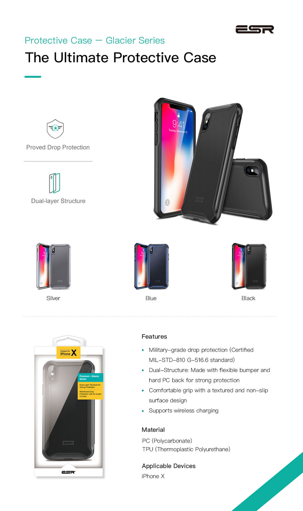 Carcasa ESR Glacier iPhone X, Black Gohub