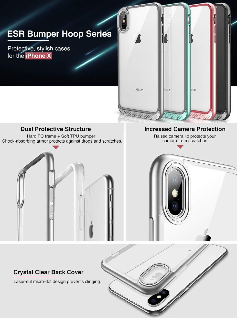 Carcasa ESR Bumper Hoop iPhone X, Silver Gohub