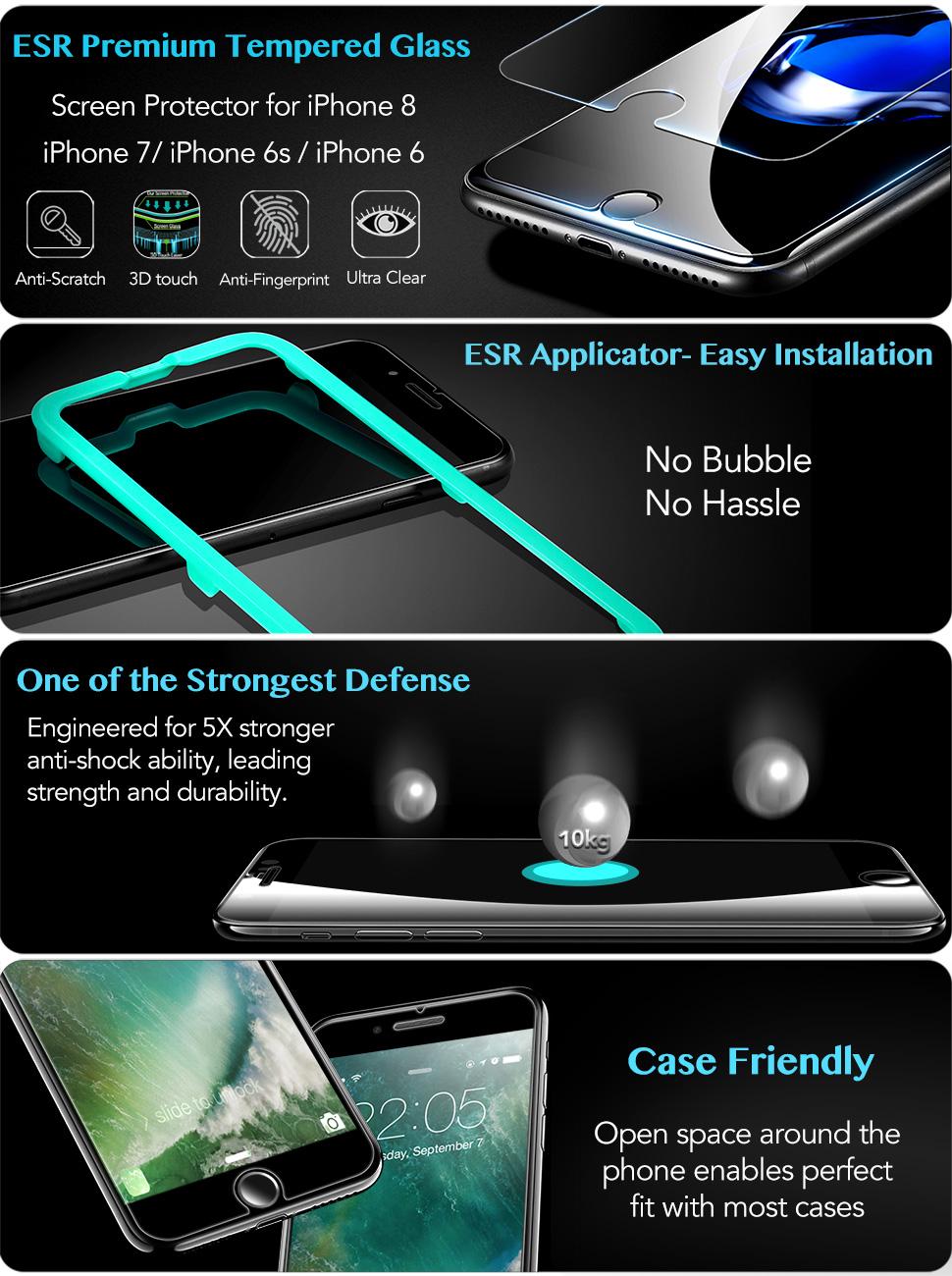 Folie sticla securizata ESR, Tempered Glass iPhone 8 / 7 / 6s / 6 Gohub