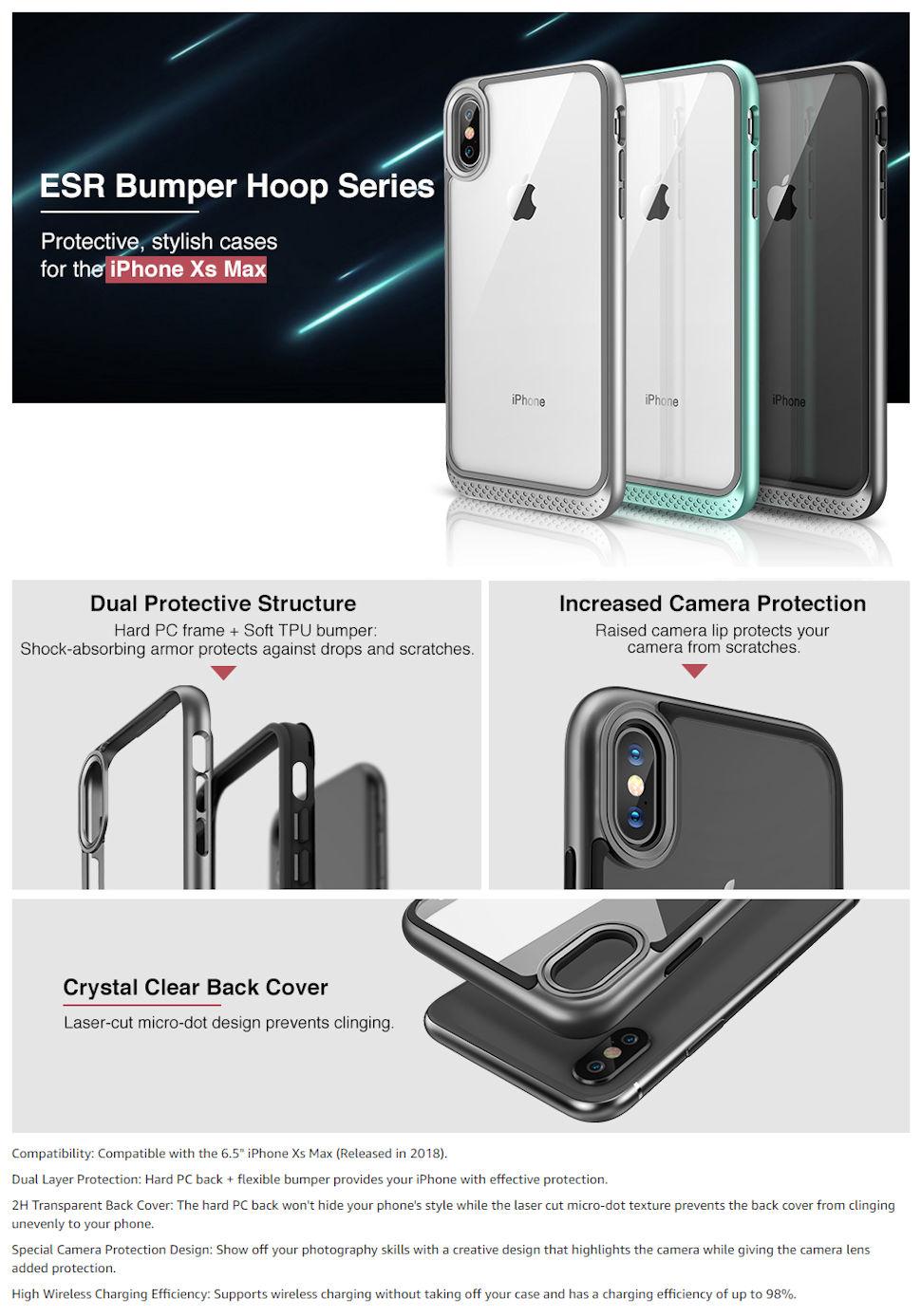 Carcasa ESR Bumper Hoop iPhone XS Max, Black