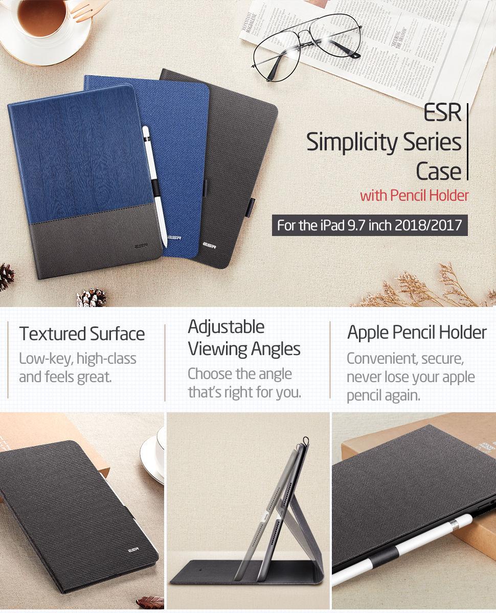 Carcasa ESR Simplicity Holder iPad 9.7 inch 2017 / 2018, Black Gohub Shop