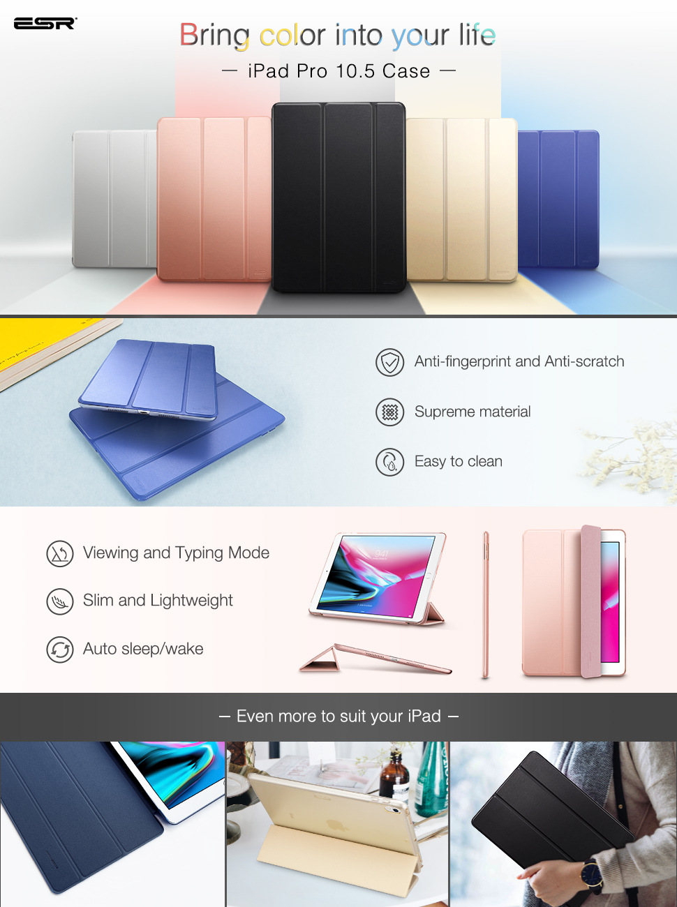 Carcasa ESR Yippee Color iPad Pro 10.5 inchi 2017, Black Gohub Shop