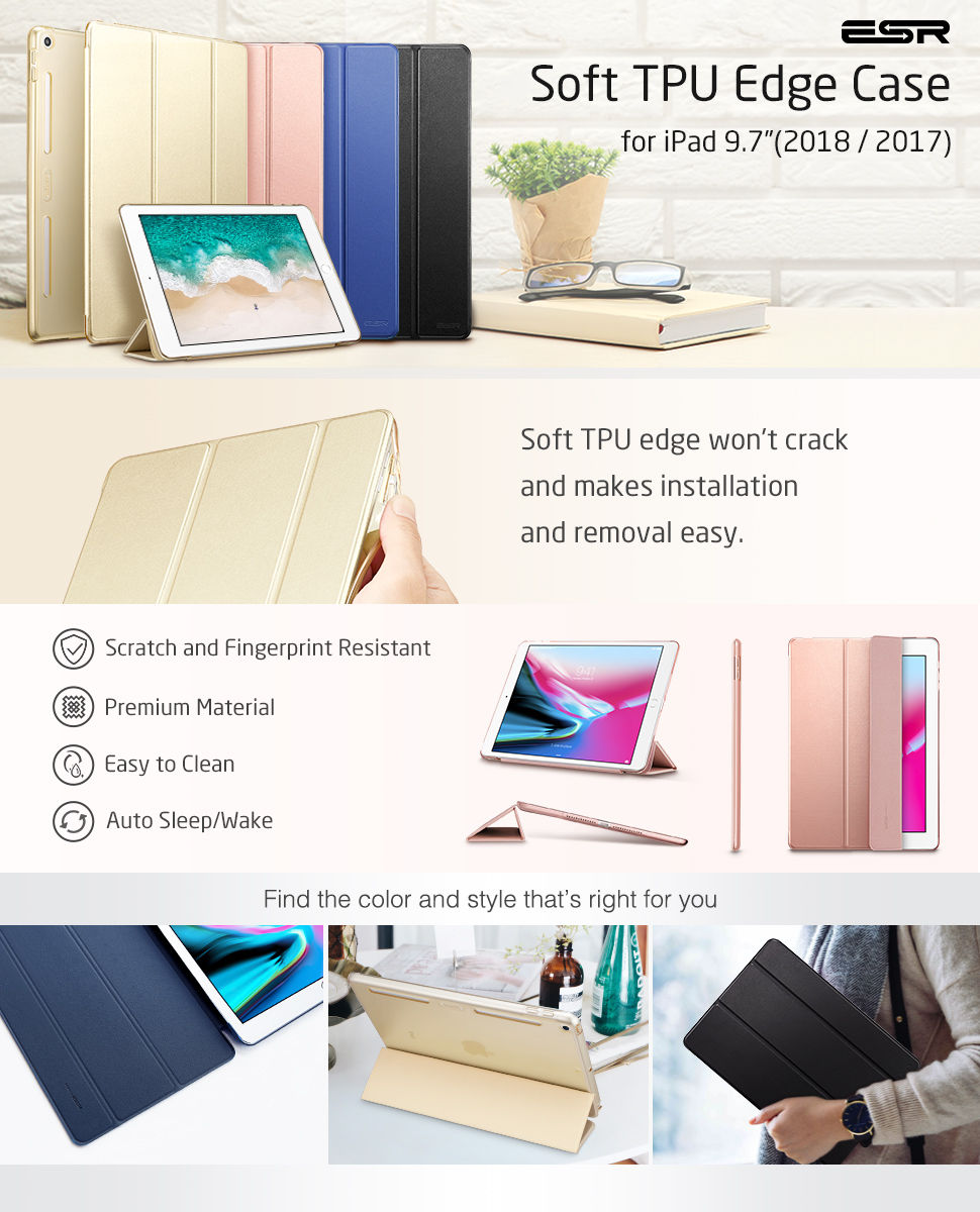 Carcasa ESR Yippee Color Plus iPad 9.7 inchi 2017 / 2018, Black Gohub Shop