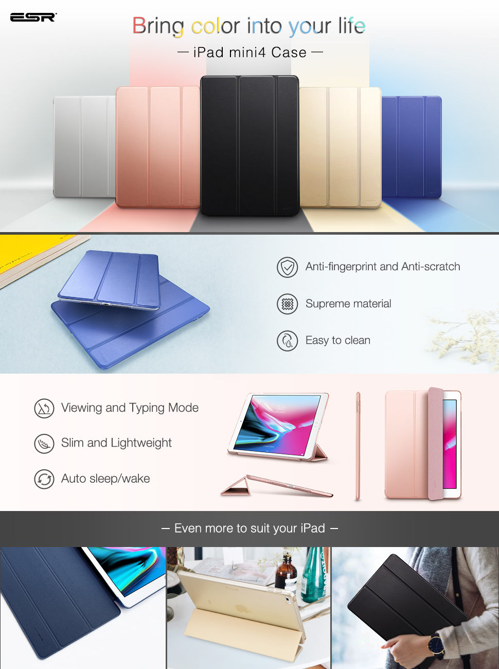 ESR Yippee Color Plus for iPad mini 4, Black - Gohub Shop