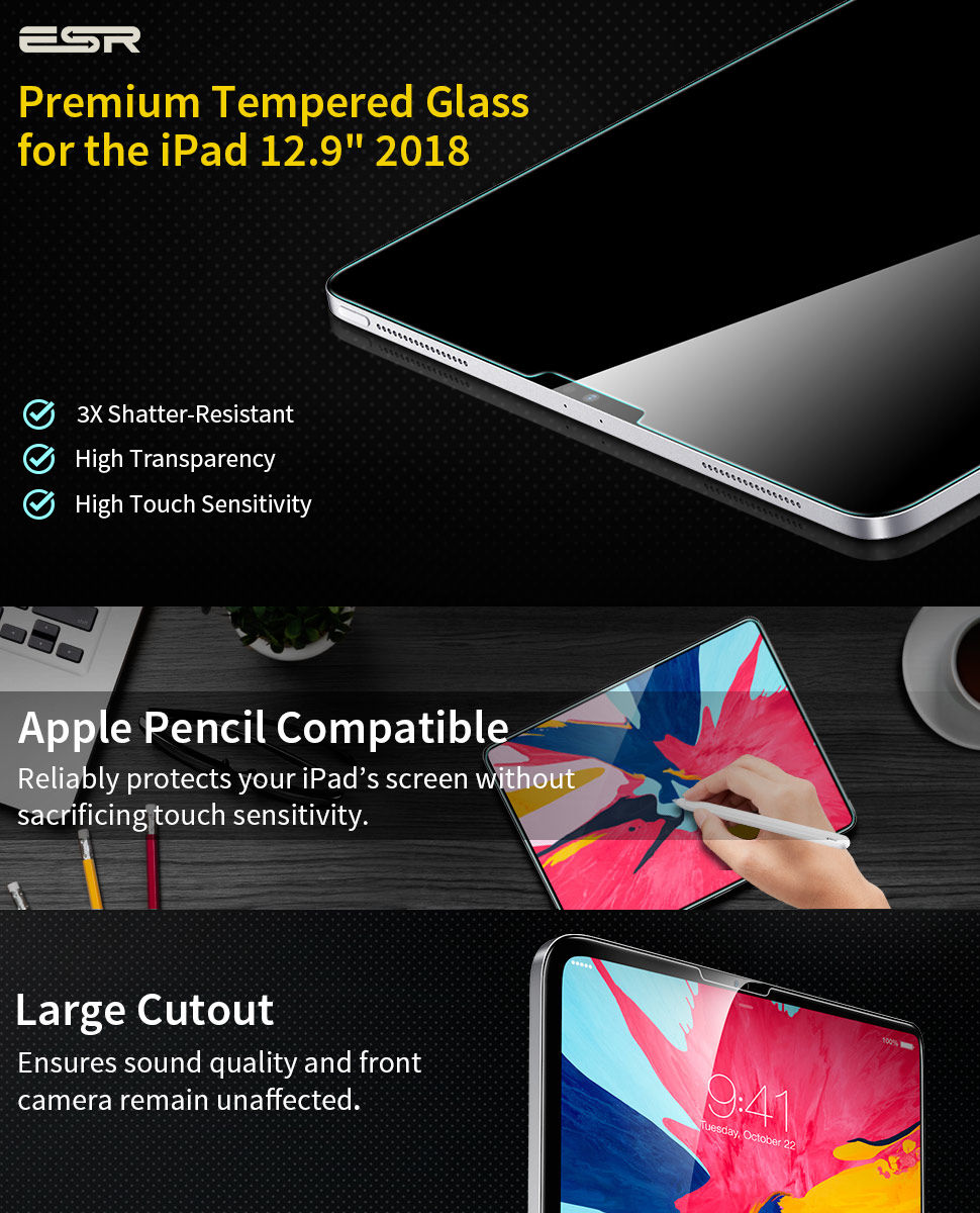 ESR iPad Pro 12.9 2018 Tempered Glass Screen Protector Gohub Shop