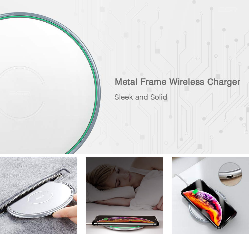 ESR Tidal Metal-Frame Qi Wireless Charging, Silver Gohub Shop