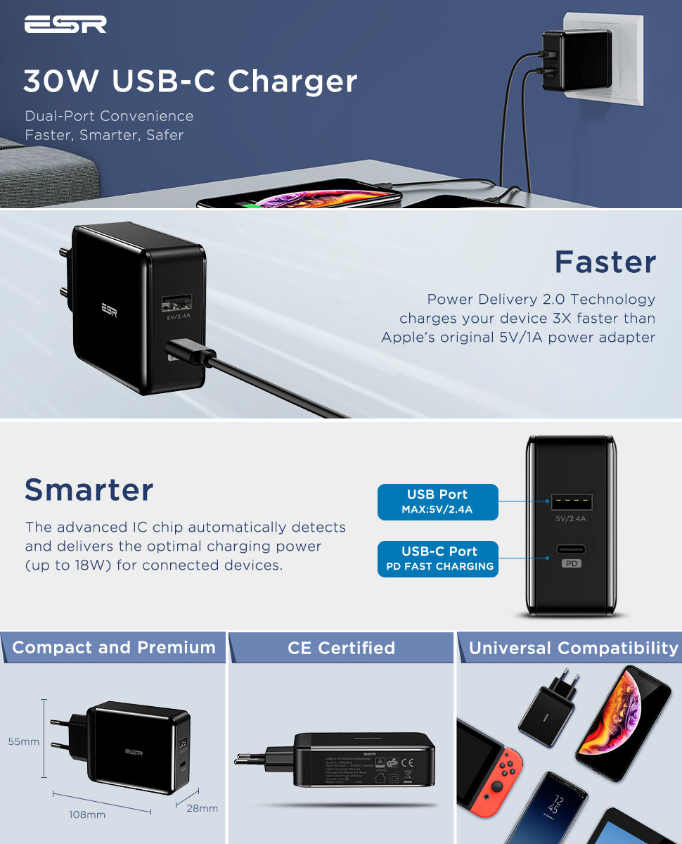 ESR Power Delivery (PD) Charger 30W, 1 USB-C + 1 USB-A, Black Gohub Shop