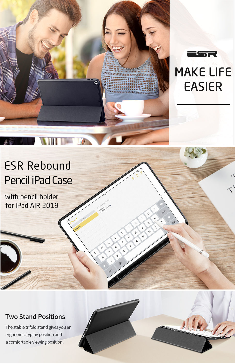 ESR Rebound Pencil for iPad Air 3 2019, Black - Gohub Shop