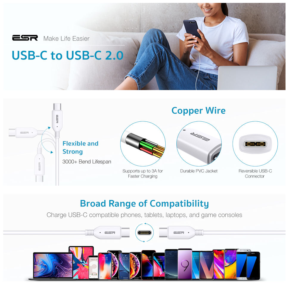 USB-C to USB-C PD Cable-1.2M-Cable-White