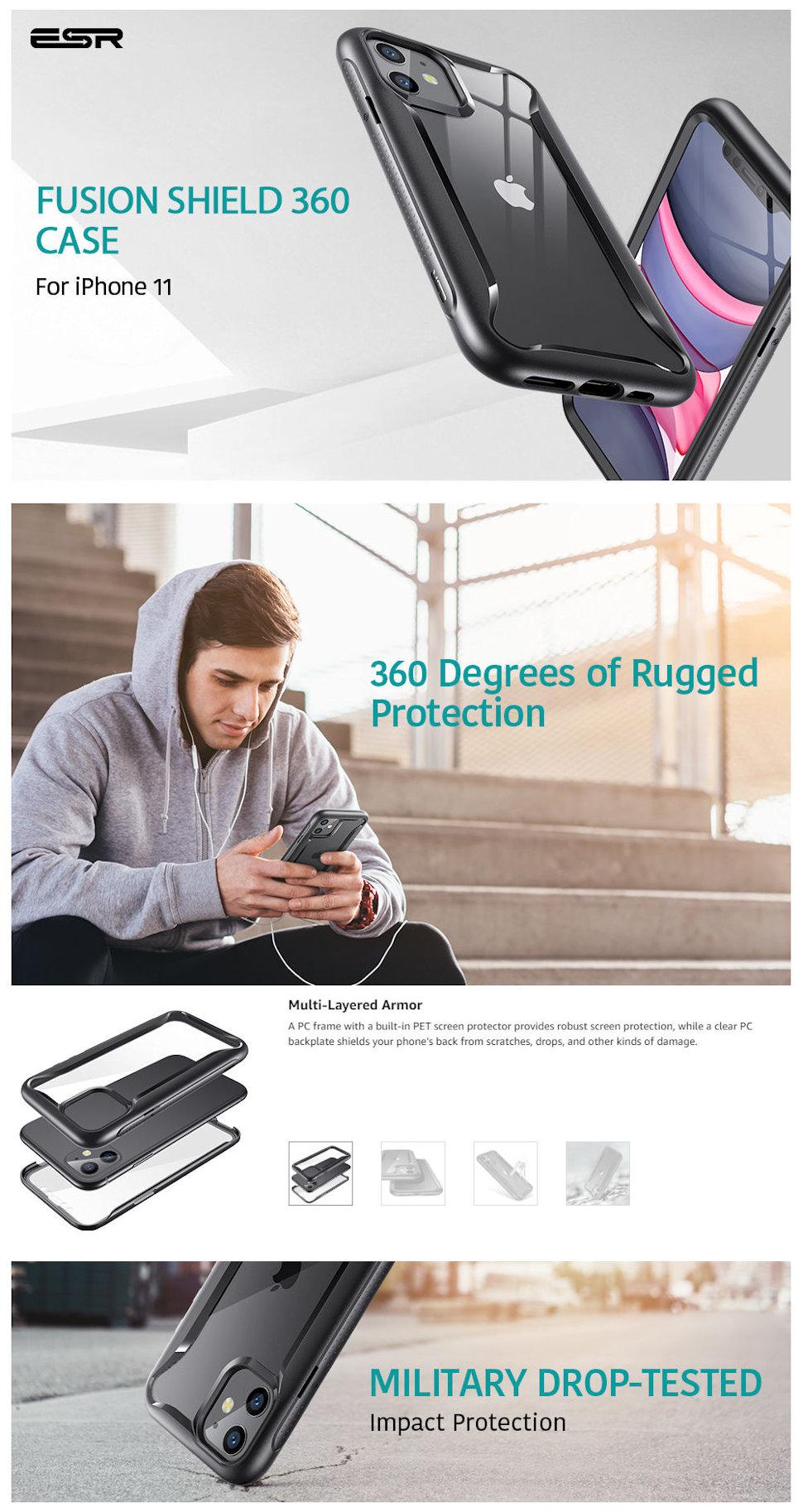 Gohub Shop iPhone 11-Hybrid Armor 360-Black Frame