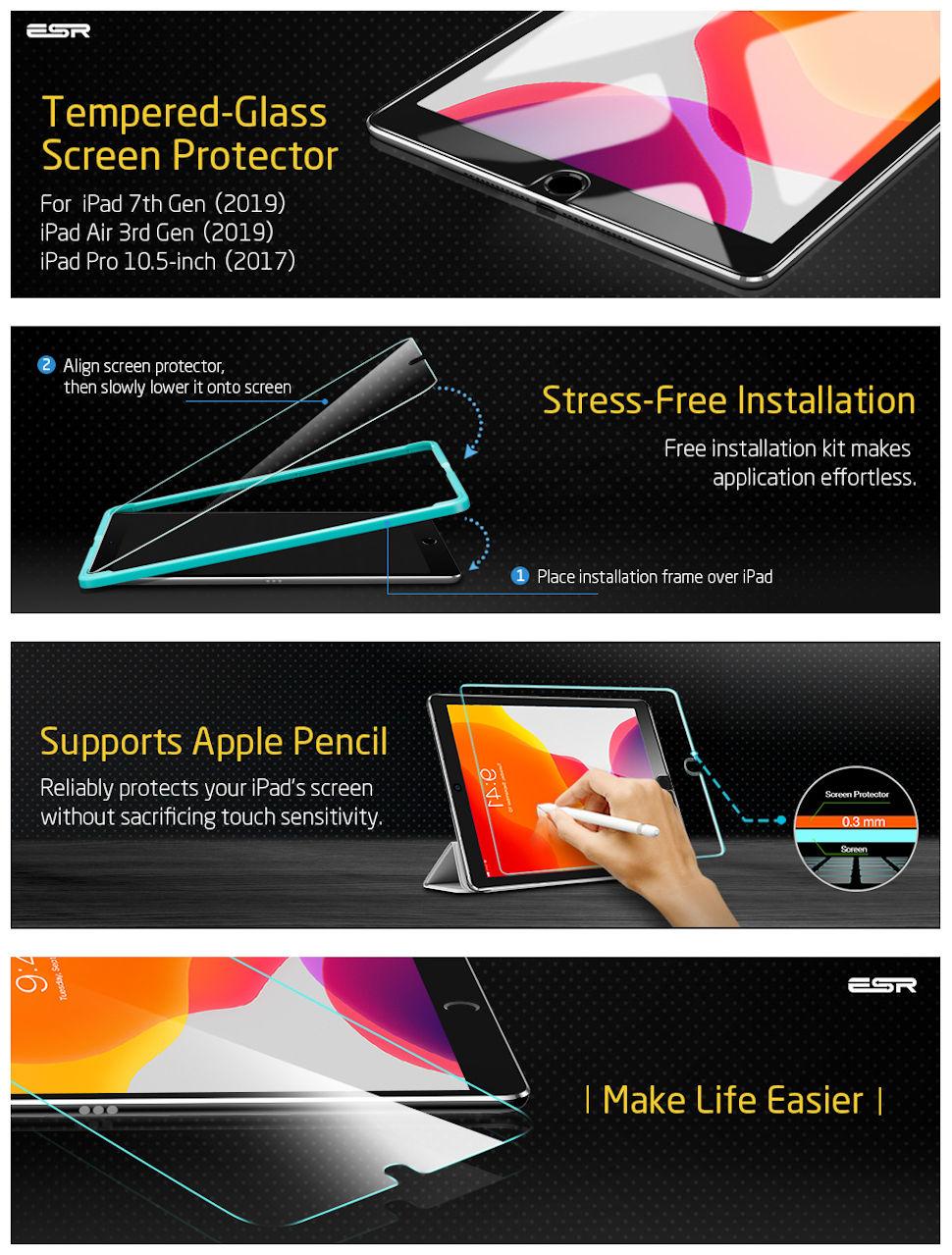 Gohub Shop iPad 10.2 2019/iPad Air 10.5 2019/iPad Pro 10.5-Glass Film-Clear