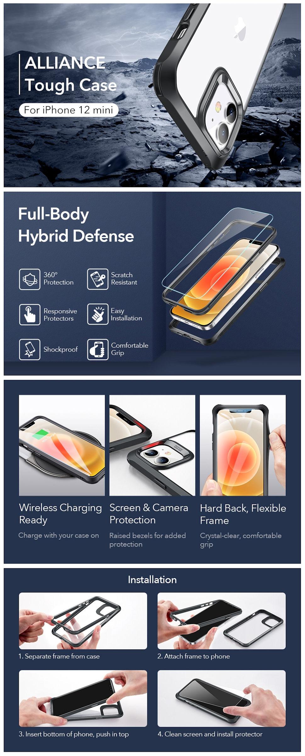 ESR Alliance - Black frame case for iPhone 12 mini + 2 Tempered-Glass Screen Protectors