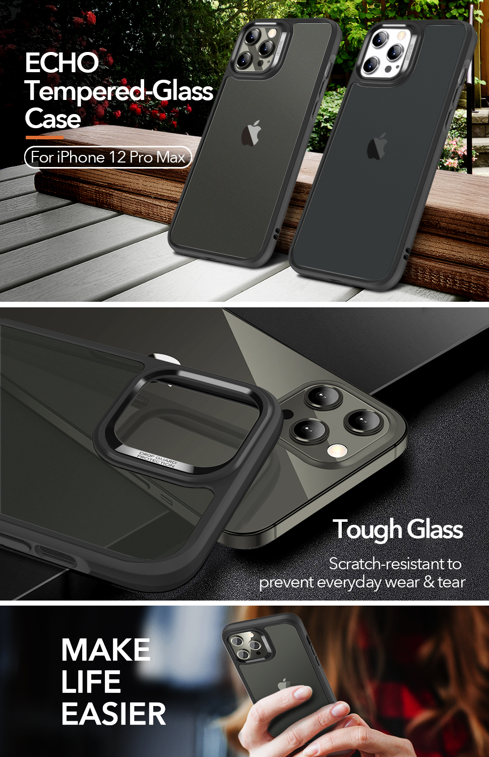 Gohub Shop ESR Ice Shield - Black case for iPhone 12 Pro Max
