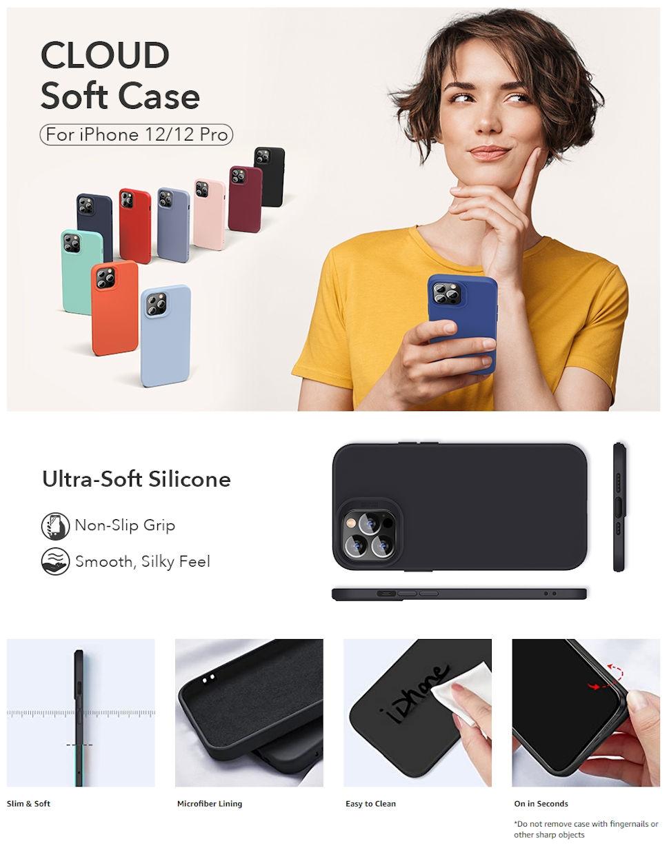 Gohub Shop - ESR Cloud - Black Case for iPhone 12/12 Pro
