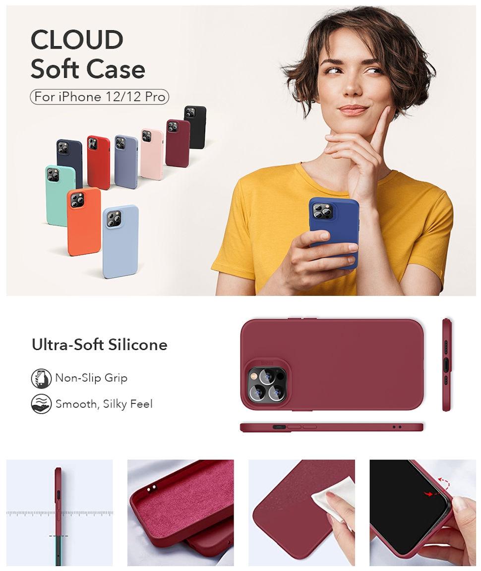 Gohub Shop - ESR Cloud - Redwine Case for iPhone 12/12 Pro