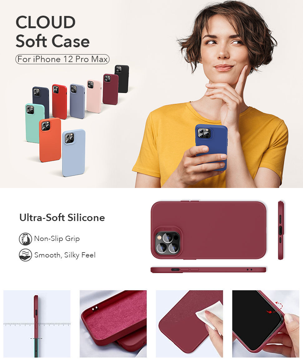 Gohub Shop - ESR Cloud - Redwine Case for iPhone 12 Pro Max