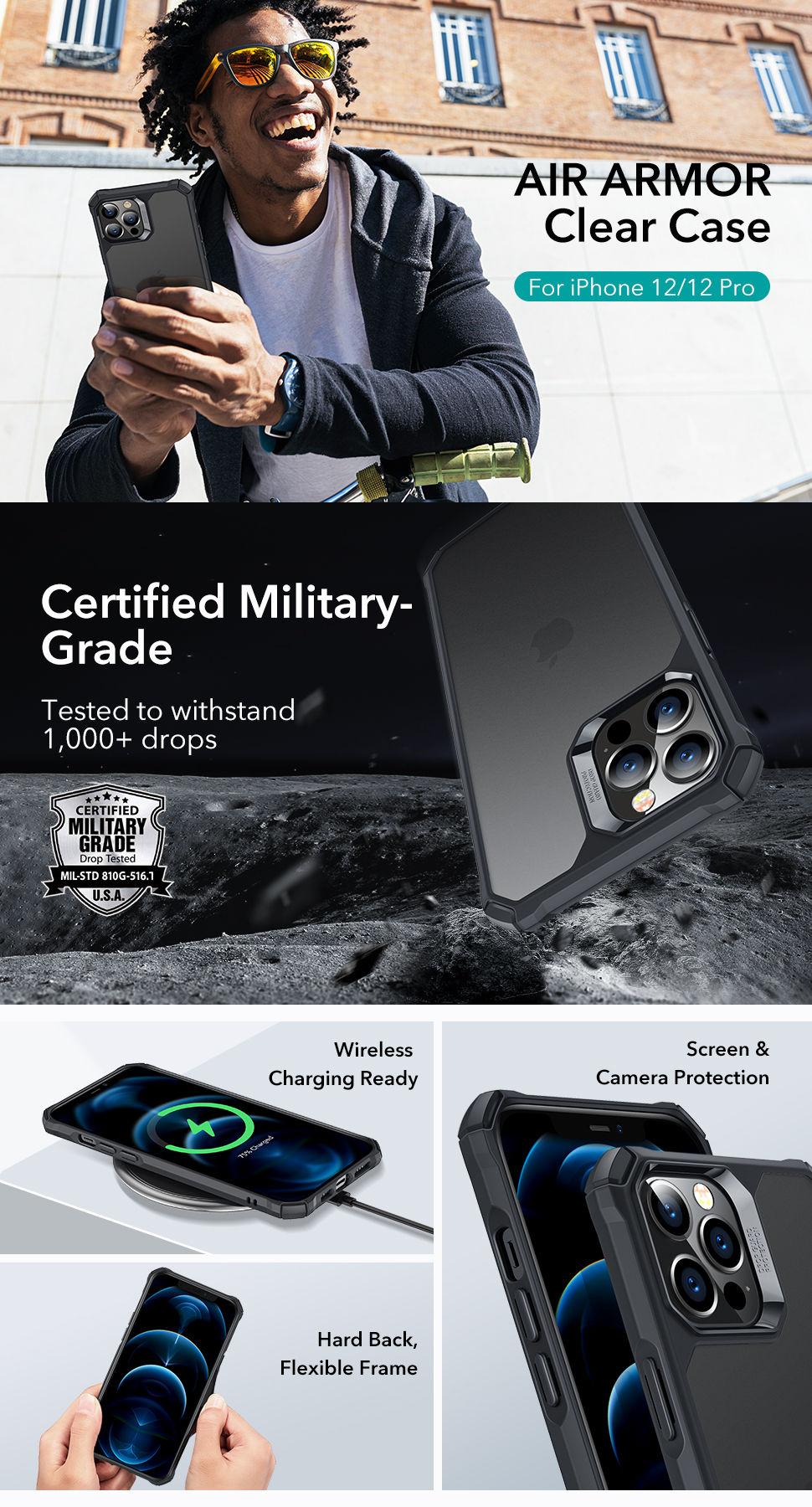 Gohub Shop - ESR Air Armor - Black case for iPhone 12/12 Pro