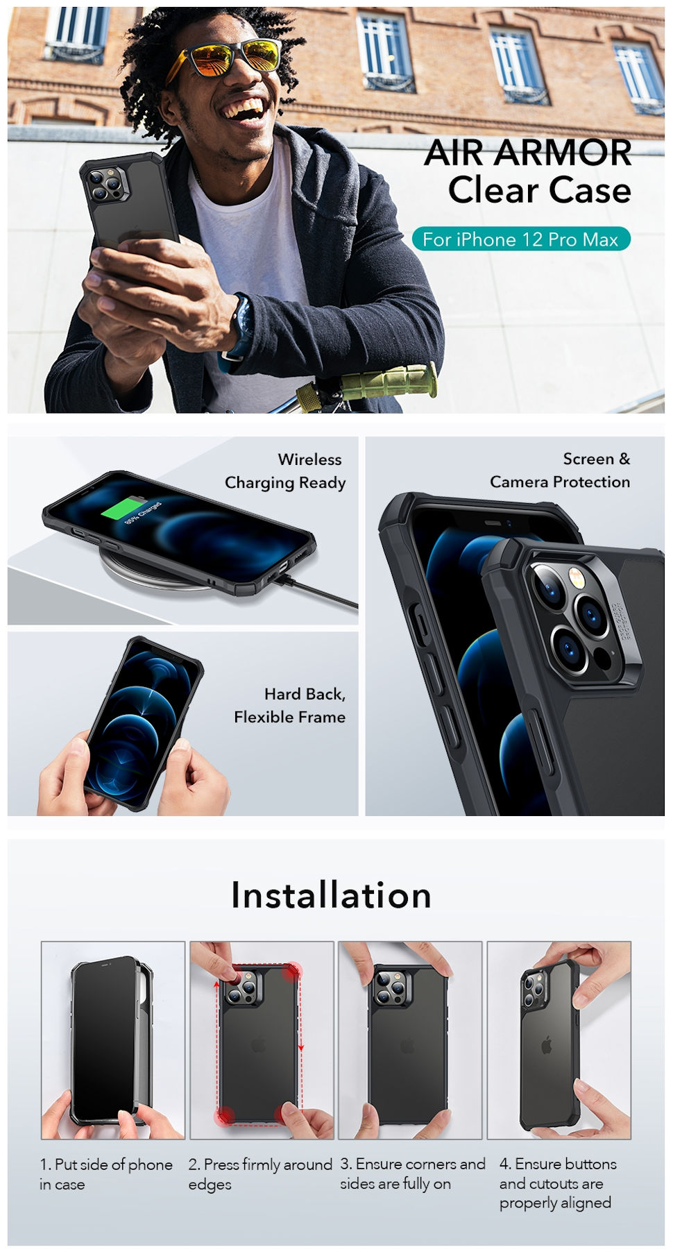 Gohub Shop - ESR Air Armor - Black case for iPhone 12 Pro Max