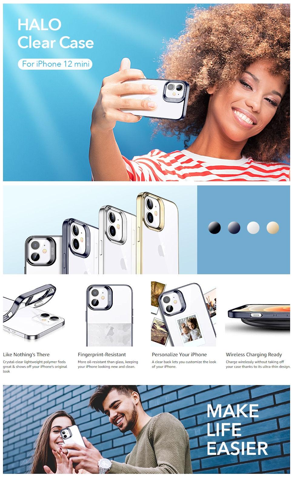 Gohub Shop - ESR Halo - Blue case for iPhone 12 mini