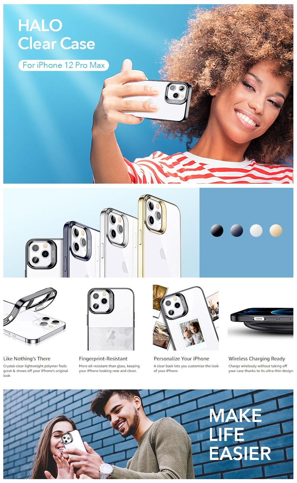 ESR Halo - Black case for iPhone 12 Pro Max