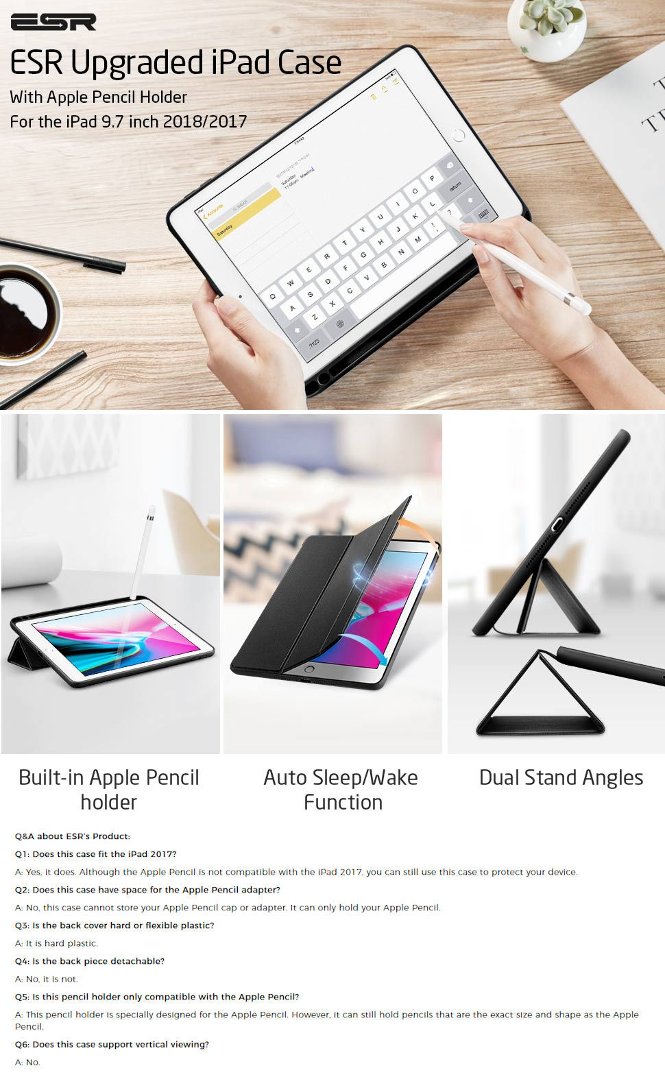 ESR Yippee Color Plus Pencil for iPad 9.7 2018 / 2017, Black