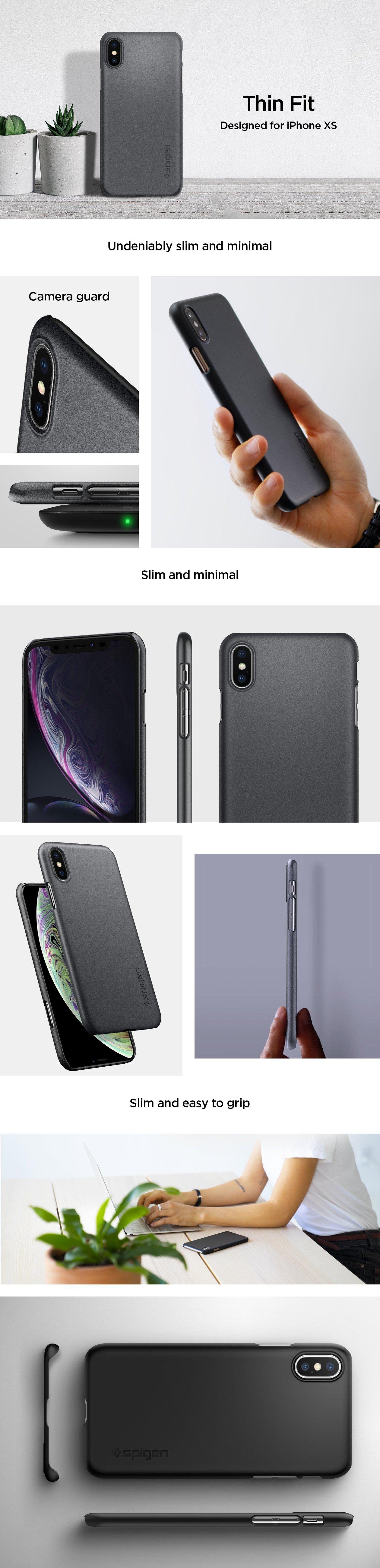 Carcasa Spigen iPhone XS / X Thin Fit, Matte Black Gohub