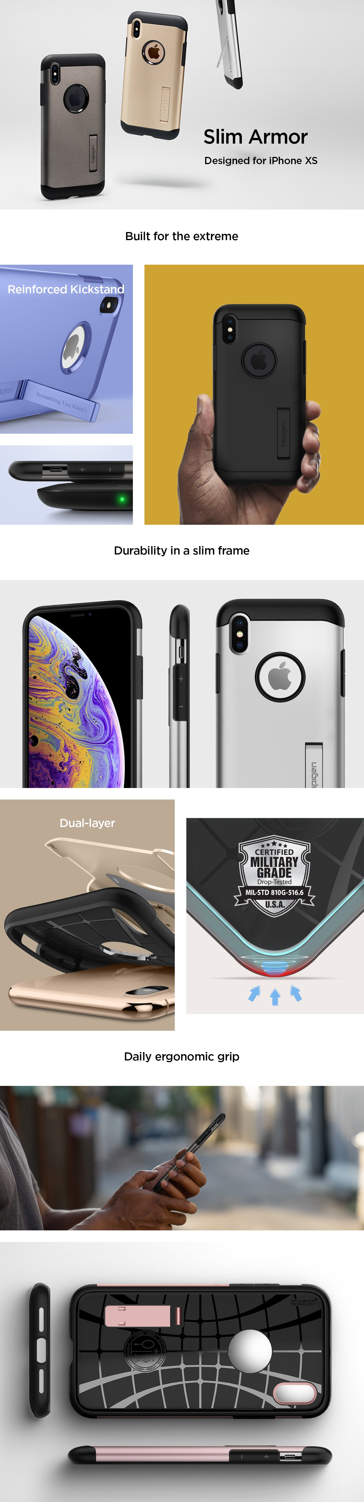 Carcasa Spigen iPhone XS Slim Armor, Gunmetal Gohub