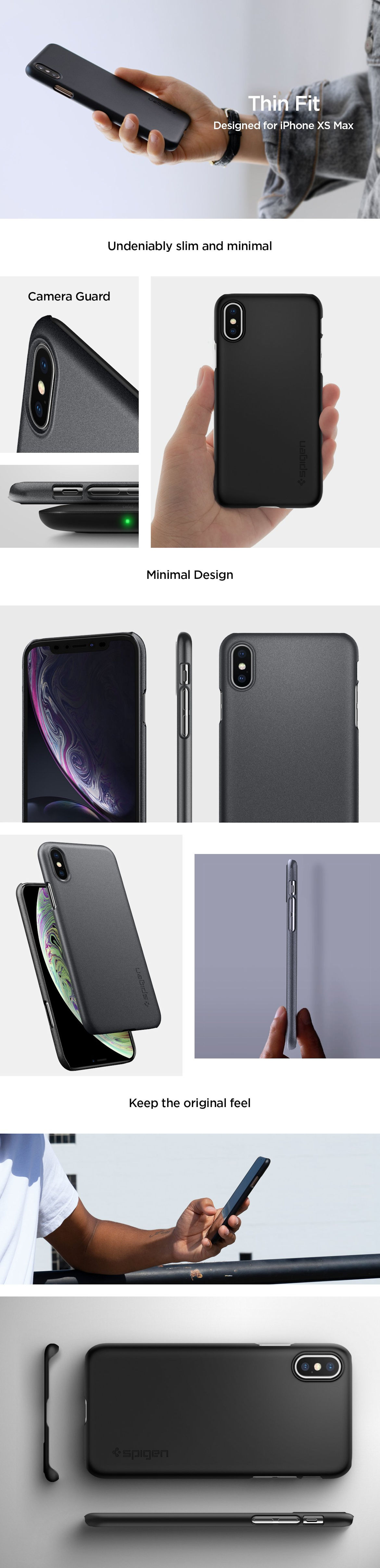 Spigen Iphone Xs Max Case Thin Fit Matte Black Galaxy S8 Carcasa Gohub