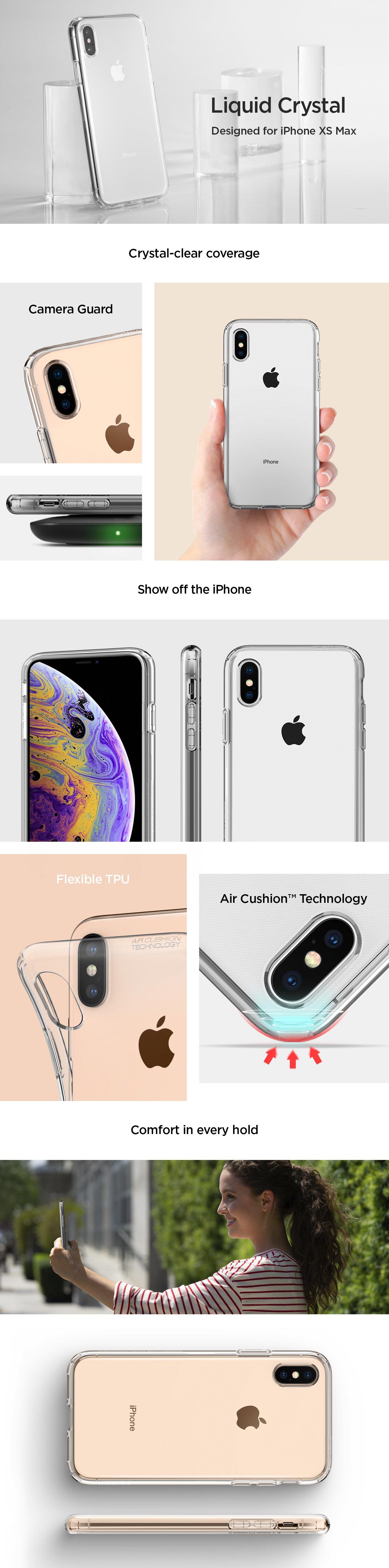 Carcasa Spigen iPhone XS Max Liquid Crystal, Crystal Clear Gohub