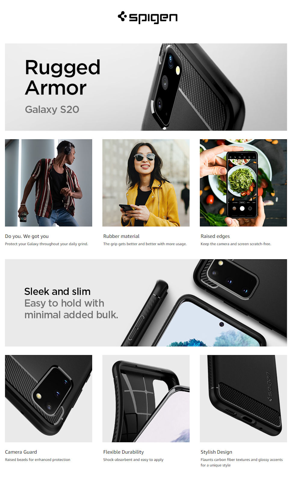 Gohub-Shop-Spigen Rugged Armor, black - Galaxy S20